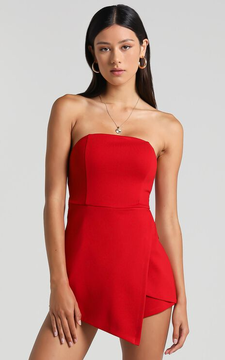 Caught My Eyes Playsuit In Red