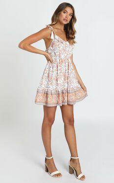 Lillian Tie Strap Dress In White Floral