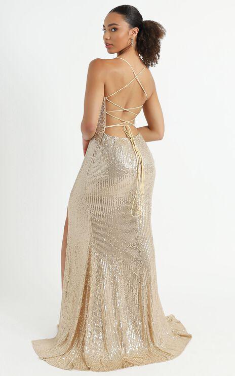 Magic Hour Maxi Dress In Gold Sequin