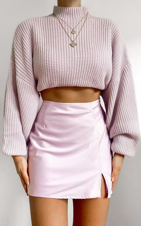 I Feel Love Oversized Knit Jumper in Lilac