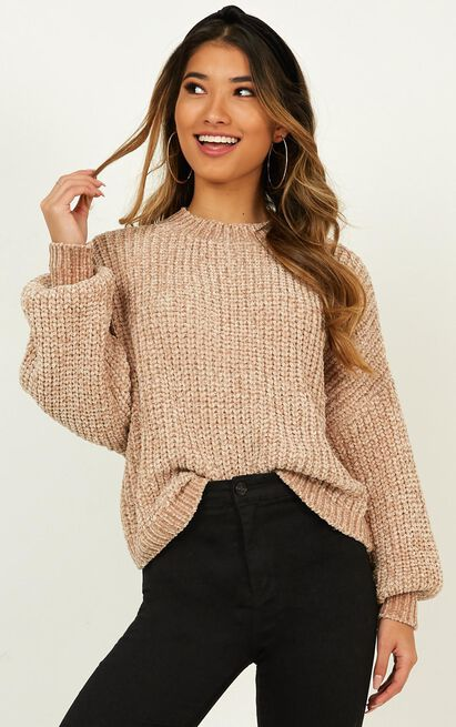 Staying Right Here Jumper in beige velvet knit - 4 (XXS), Beige, hi-res image number null