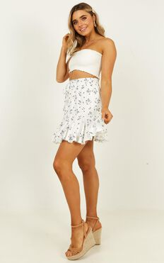 Pass the Message On Skirt  In White Floral
