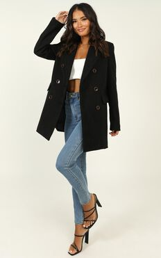 Confidence Is Key Blazer Coat In Black