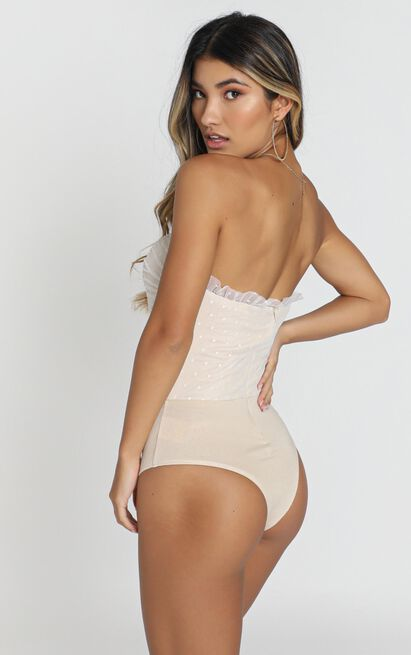 Out of patience Bodysuit in white spot mesh - 20 (XXXXL), White, hi-res image number null