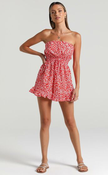Pretty Little Lies Strapless Playsuit in Red Print