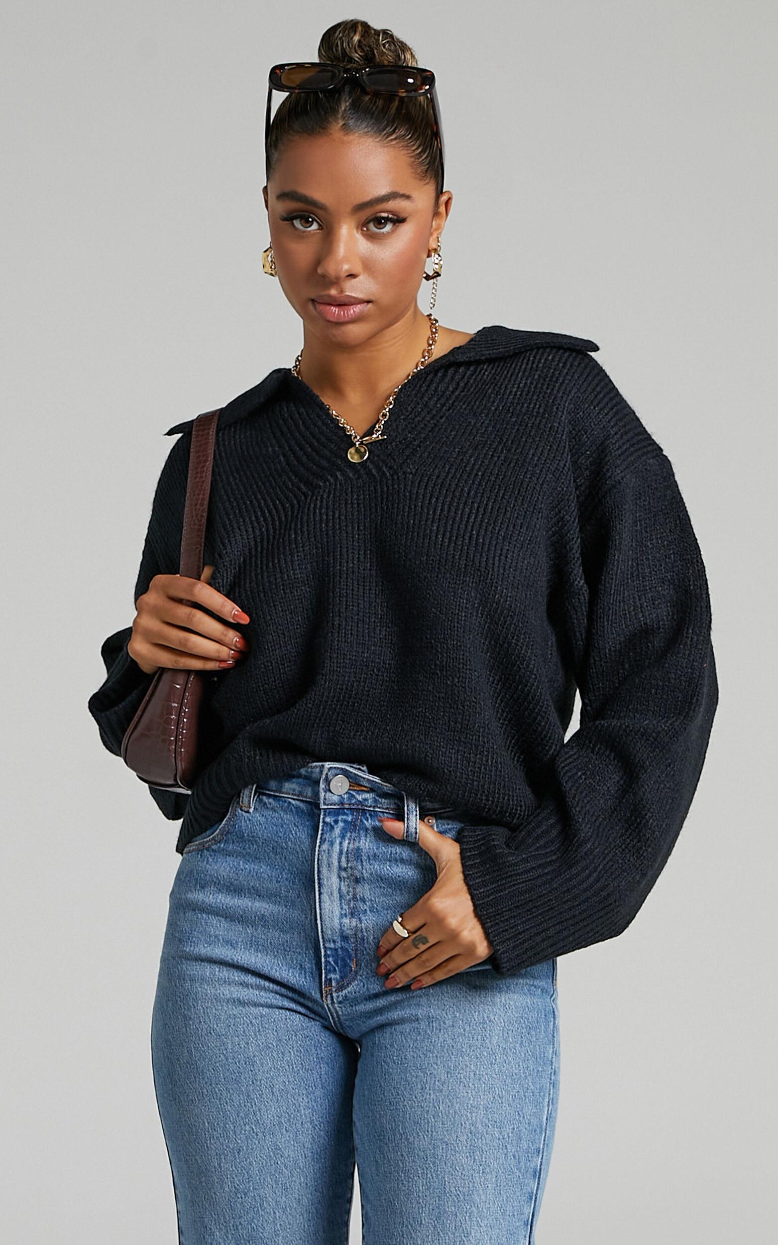 Lila Collared Knit Jumper in Black - 06, BLK1, super-hi-res image number null