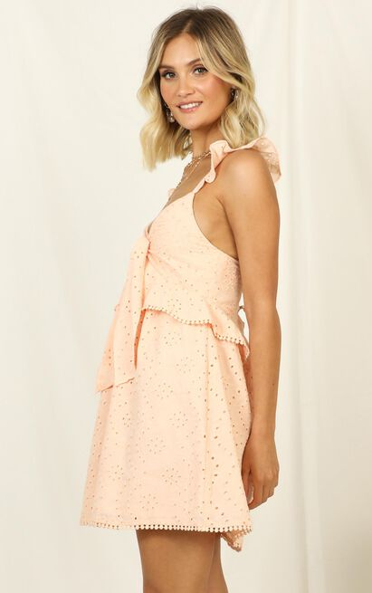 Ok Honey Dress in peach embroidery - 14 (XL), Pink, hi-res image number null