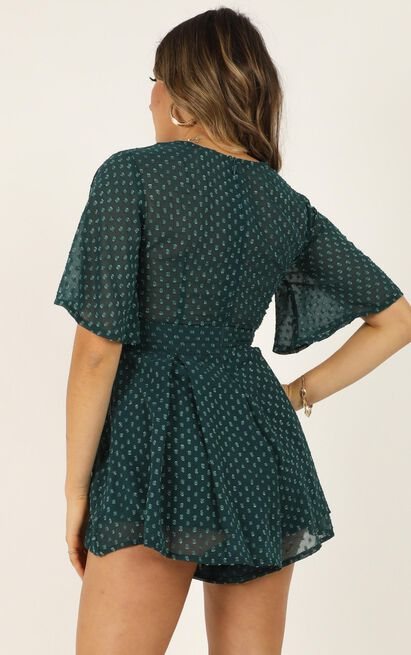 Chains Hit My Chest Playsuit In emerald - 14 (XL), Green, hi-res image number null