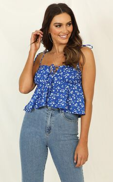 Aint No Sweetie Top In Blue Floral