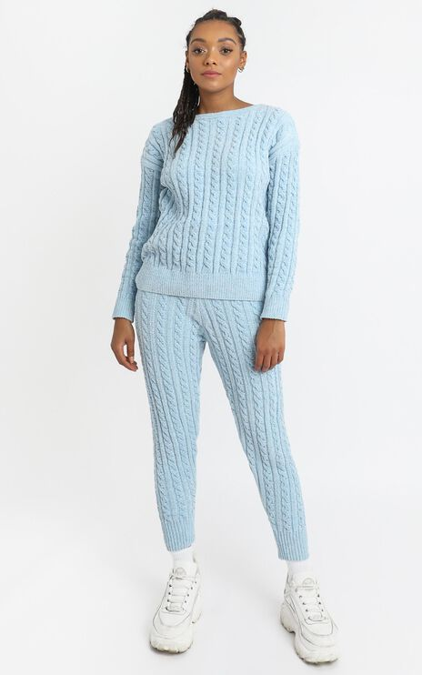 Iona Cable Knit Two Piece Set in Blue