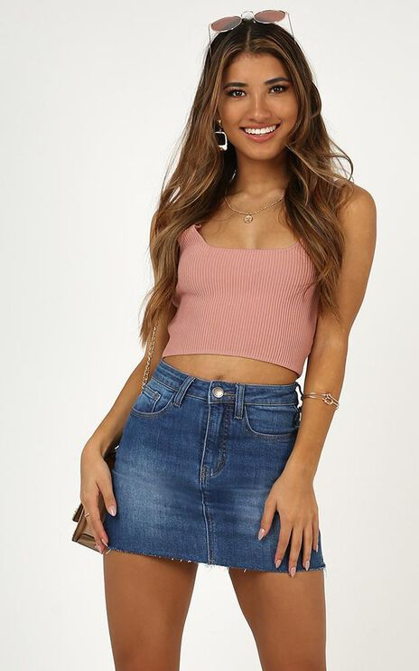 Lost In Space Denim Skirt In Mid Wash