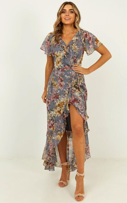 Light and Happiness wrap dress in purple floral - 20 (XXXXL), Purple, hi-res image number null
