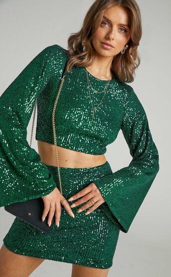 Roxanne Flared Sleeve Crop Top in Emerald Sequin