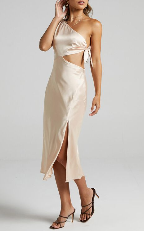 Glaucus Dress in Champagne Satin