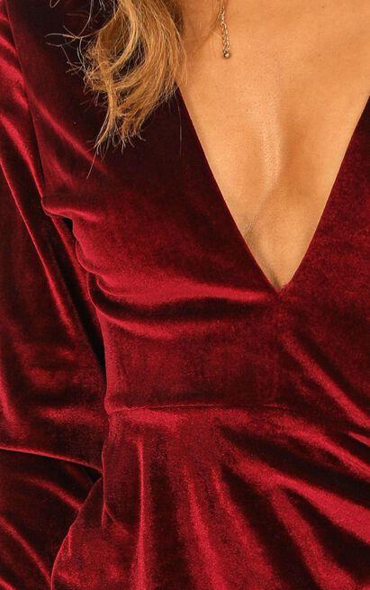 Sip of Wine Dress in wine velvet - 20 (XXXXL), Wine, hi-res image number null