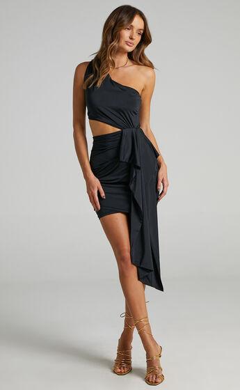 Danniela One Shoulder Drape Mini Dress in Black