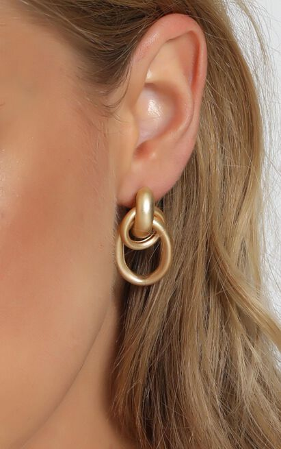 Record Player Hoop Earrings In Gold, , hi-res image number null
