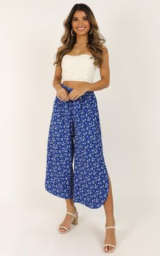 I Am Still Here Pants In Cobalt Blue Floral