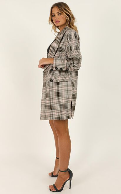 Meet Me In The Field Blazer in blush check - 20 (XXXXL), Blush, hi-res image number null