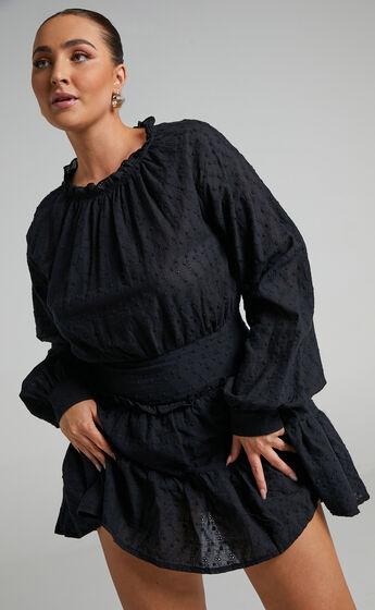 Tezza Longsleeve Broderie Mini Dress in Black