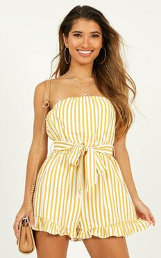 Done Deal Playsuit in mustard stripe