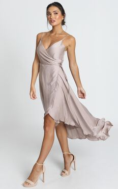 Between Fantasy Dress In Champagne Satin