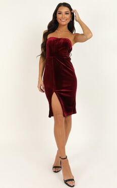Angelic Love Dress In Wine Velvet
