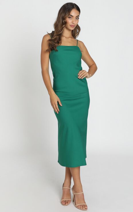 Regina Satin Slip Dress in forest green