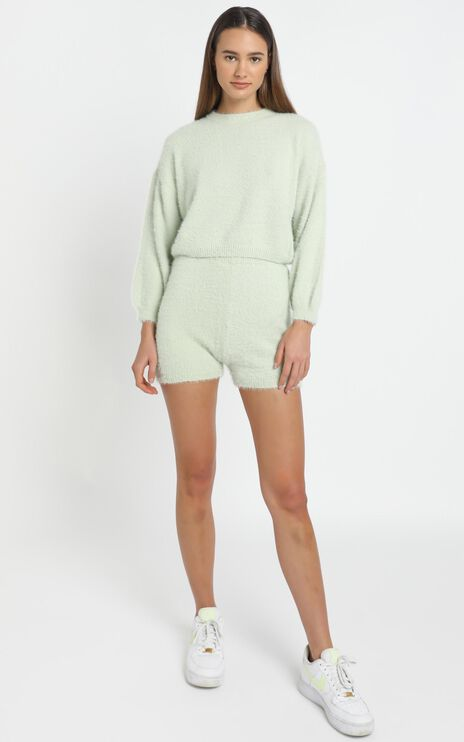 Loretta Fluffy Knit Two Piece Set in Sage