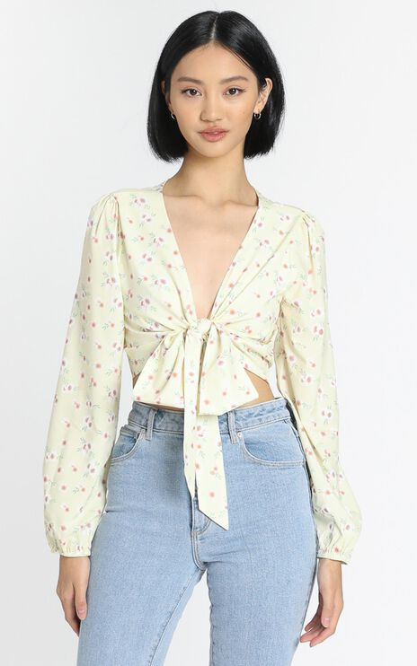 Spring Break Top in Yellow Floral