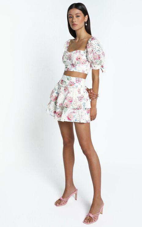 Kiah Skirt in White Floral