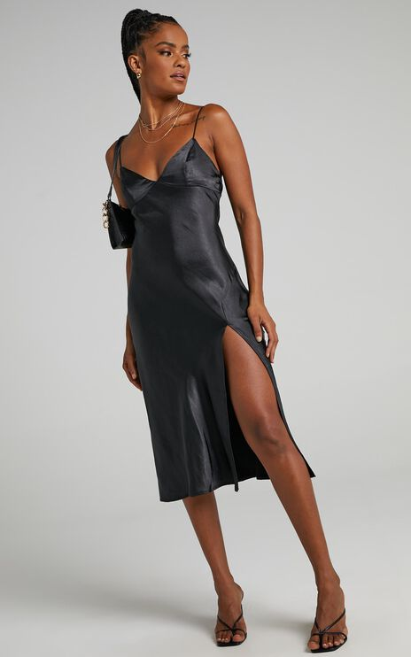 Leesha Dress in Black Satin