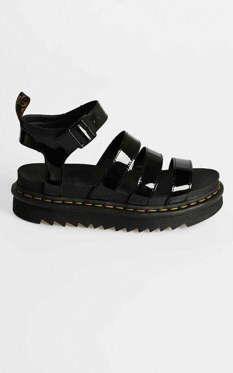 Dr. Martens - Chunky 3 Strap Sandal in Black Patent Lamper