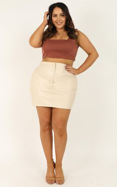You Talk Skirt In Cream Leatherette