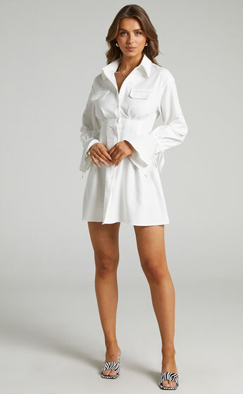 Romi Cuffed Long Sleeve Shirt Dress with Cinched Waist in White