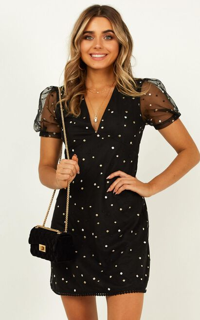 Last moment dress in Black with Metallic Embroidery - 20 (XXXXL), Black, hi-res image number null