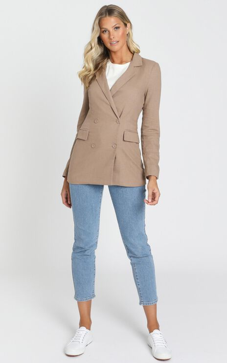 Changing My Mind Blazer in Mocha Linen Look