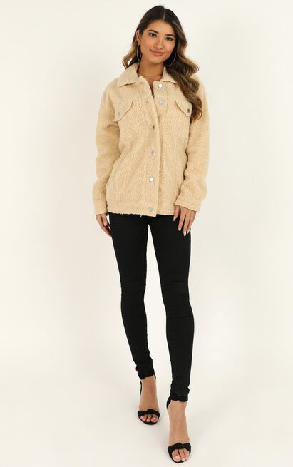 Future Faces Jacket in Beige Teddy - 20 (XXXXL), Beige, hi-res image number null