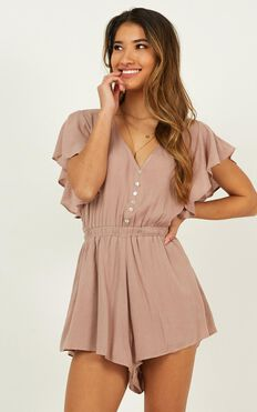Finding Time Playsuit In Mocha