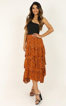 Always With Me Skirt In Rust Floral