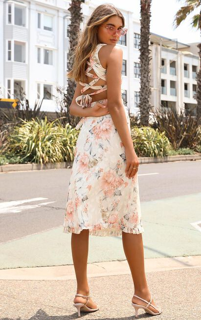 Just Hold My Hand  dress In peach floral - 20 (XXXXL), Pink, hi-res image number null