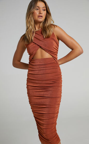 Selita Ruched High Neck Midi Dress in Rust