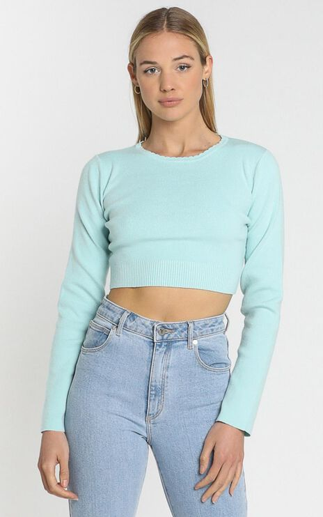 Amare Knit Top in Sea Blue