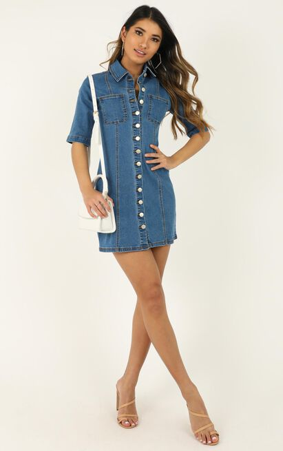The Extra Mile denim dress in mid wash - 20 (XXXXL), Blue, hi-res image number null