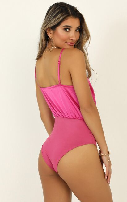 Welcome Home Bodysuit in hot pink satin - 20 (XXXXL), Pink, hi-res image number null