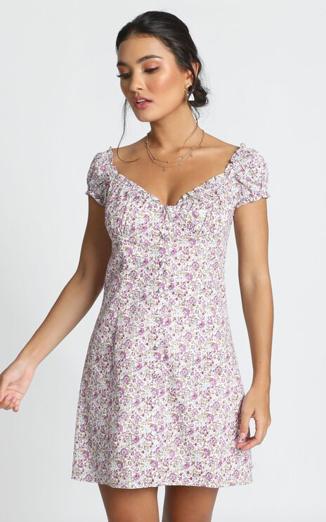 Greta Mini Dress In Purple Floral