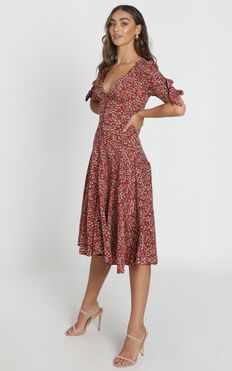 Stacey Button Through Midi Dress in Wine Floral
