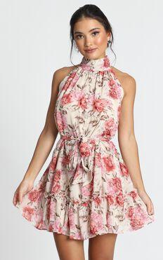 Celeste Mini Dress In Rose Floral