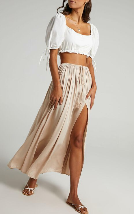 Under The Twilight Maxi Skirt In Beige