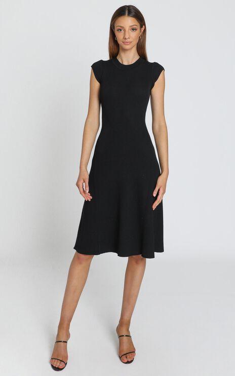 Jane Knitted Rib Dress in Black